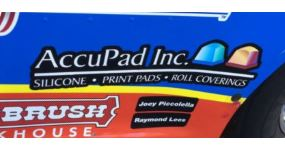Silicone Print Pads advertising on Nascar racer