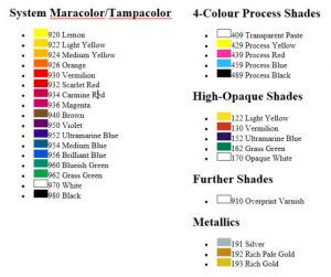 Color Chart Pad Printing Ink